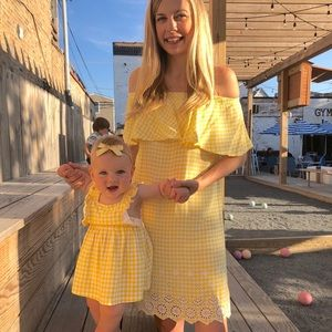 Mommy and me yellow gingham dress set